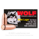 Bulk 9mm Ammo For Sale - 115 Grain FMJ Ammunition in Stock by Wolf - 1350 Rounds