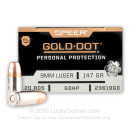 Premium 9mm Ammo For Sale - 147 Grain JHP Ammunition in Stock by Speer Gold Dot - 200 Rounds