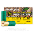 """Premium 12 Gauge Ammo For Sale - 2-3/4"""" 1-1/4oz. BB Shot Ammunition in Stock by Remington Nitro-Steel - 25 Rounds"""