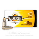 Cheap 22 TCM Ammo For Sale - 40 Grain JHP Ammunition in Stock by Armscor - 100 Rounds