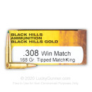 Premium 308 Ammo For Sale - 168 Grain TMK Ammunition in Stock by Black Hills Gold - 20 Rounds