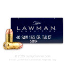 Premium 40 S&W Ammo For Sale - 165 Grain TMJ Ammunition in Stock by Speer Lawman Clean-Fire - 50 Rounds