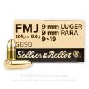 Sellier & Bellot 9mm Ammo - 124 gr FMJ
