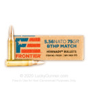 Premium 5.56x45 Ammo For Sale - 75 Grain BTHP Match Ammunition In Stock by Hornady Frontier - 20 Rounds