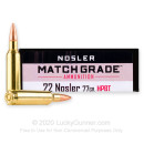 Premium 22 Nosler Ammo For Sale - 77 Grain Custom Competition Ammunition in Stock by Nosler Match Grade - 20 Rounds