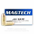 40 S&W Ammo - 180 gr FMJ Flat - Magtech 40 cal Ammunition - 50 Rounds