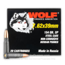 Cheap 7.62x39 Ammo For Sale - 154 Grain SP Ammunition in Stock by Wolf - 20 Rounds