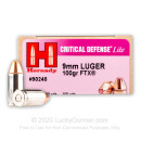 Premium 9mm Ammo For Sale - 100 Grain FTX Ammunition in Stock by Hornady Critical Defense Lite - 250 Rounds