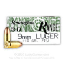 Cheap 9mm Ammo For Sale - 115 Grain FMJ Ammunition in Stock by Remington Range - 50 Rounds