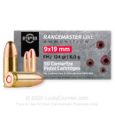 Cheap 9mm Ammo For Sale - 124 Grain FMJ Ammunition in Stock by Prvi Partizan Rangemaster - 50 Rounds