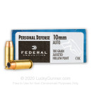 Cheap 10mm Auto Ammo For Sale - 180 Grain JHP Ammunition in Stock by Federal Personal Defense - 20 Rounds