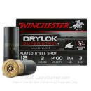 "Premium 12 Gauge Ammo For Sale - 3"" 1 1/4 oz. #3 Steel Shot Ammunition in Stock by Winchester Drylok Super Steel Magnum - 25 Rounds"