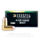 Premium 45 ACP Ammo For Sale - 155 Grain RHT Frangible Ammunition in Stock by Federal LE BallistiClean - 50 Rounds