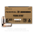 Premium 45 ACP Ammo For Sale - 230 Grain JHP Ammunition in Stock by Federal Punch - 20 Rounds