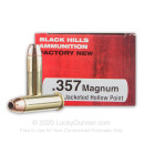Cheap 357 Mag Ammo For Sale - 158 Grain JHP Ammunition in Stock by Black Hills Ammunition - 50 Rounds