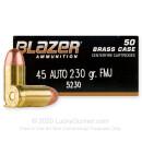 45 ACP Ammo For Sale - 230 gr FMJ - CCI Blazer Brass Ammunition For Sale