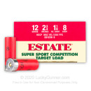 "Cheap 12 Gauge Ammo For Sale - 2-3/4"" 1-1/8oz. #8 Shot Ammunition in Stock by Estate Super Sport - 25 Rounds"