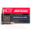 Cheap 300 AAC Blackout Ammo For Sale - 145 Grain FMJ Ammunition in Stock by Barnaul - 20 Rounds