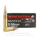 Premium Match Grade 5.56x45mm Ammo For Sale - 77 gr HPBT Ammunition In Stock by Winchester - 20 Rounds