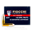 357 Mag Ammo For Sale - 142 gr FMJTC Fiocchi Ammunition In Stock