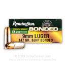 Premium 9mm Ammo For Sale - 147 Grain BJHP Ammunition in Stock by Remington Golden Saber Bonded - 20 Rounds
