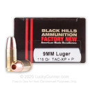Premium 9mm +P Ammo For Sale - 115 Grain TAC-XP Ammunition in Stock by Black Hills - 20 Rounds