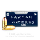 Cheap 45 ACP Ammo For Sale - 230 Grain TMJ Ammunition in Stock by Speer Lawman Cleanfire - 50 Rounds