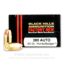 Premium 380 Auto Ammo For Sale - 60 Grain HoneyBadger Ammunition in Stock by Black Hills - 20 Rounds