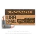Cheap 9mm Ammo For Sale - 115 Grain FMJ Ammunition in Stock by Winchester USA Forged - 50 Rounds