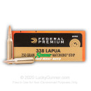 338 Lapua Magnum Sierra MatchKing Federal Premium 250 grain hollow point boat tail ammunition