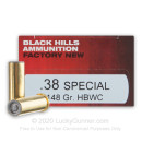 Cheap 38 Special Ammo For Sale - 148 Grain HBWC Ammunition in Stock by Black Hills Ammunition - 50 Rounds