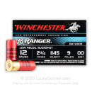 "12 ga Ammo For Sale - 2-3/4"" 00 Buck 9 Pellets Low Recoil Ammunition by Winchester Ranger"