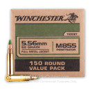 Premium 5.56x45 Ammo For Sale - 62 Grain FMJ M855 Ammunition in Stock by Winchester - 150 Rounds