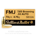 32 ACP Ammo - 73 gr FMJ - Sellier & Bellot - 50 Rounds