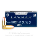 Premium 9mm Ammo For Sale - 147 Grain TMJ Ammunition in Stock by Speer Lawman Clean-Fire - 50 Rounds