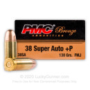 Bulk 38 Super +P Ammo For Sale - 130 Grain FMJ Ammunition in Stock by PMC Bronze - 1000 Rounds