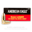 9mm Ammo For Sale - 124 gr FMJ - Federal American Eagle Ammunition For Sale