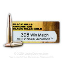 Premium 308 Ammo For Sale - 180 Grain Nosler AccuBond Ballistic Tip Ammunition in Stock by Black Hills Gold - 20 Rounds