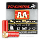 """Bulk 12 Gauge Ammo For Sale - 2-3/4"""" 1-1/4oz. #7.5 Shot Ammunition in Stock by Winchester AA Super Pigeon - 250 Rounds"""