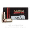 Premium 40 S&W Ammo For Sale - 140 Grain TAC-XP Ammunition in Stock by Black Hills - 20 Rounds