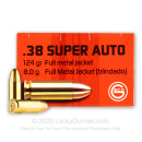 Cheap 38 Super Ammo For Sale - 124 Grain FMJ Ammunition in Stock by GECO - 50 Rounds
