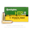 Premium .41 Remington Magnum Ammo For Sale – 210 grain Semi-jacketed Soft Point Ammunition in Stock by Remington HTP - 500 Rounds