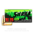 Premium 9mm Ammo For Sale - 115 Grain JHP Ammunition in Stock by Sierra Outdoor Master - 20 Rounds