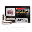 45 ACP +P Ammo - Barnes TAC-XPD 185 Grain SCHP - 20 Rounds