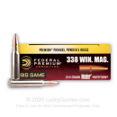 Premium 338 Winchester Magnum Ammo For Sale – 210 grain Nosler Partition Ammunition in Stock by Federal Vital-Shok - 20 Rounds