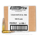 Bulk 5.56x45 Ammo For Sale - 45 Grain Frangible Ammunition in Stock by SinterFire - 1000 Rounds