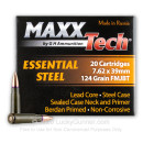 Cheap 7.62x39 Ammo For Sale - 124 Grain FMJBT Ammunition in Stock by MAXXTech Essential Steel - 20 Rounds