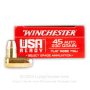 Premium 45 ACP Ammo For Sale - 230 Grain FMJ FN Ammunition in Stock by Winchester USA Ready - 50 Rounds