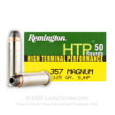 Cheap 357 Mag Ammo For Sale - 125 gr SJHP Remington High Terminal Performance Ammunition In Stock - 50 Rounds