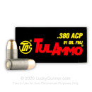380 Auto Ammo In Stock - 91 gr FMJ - 380 Auto Ammunition by Tula Cartridge Works For Sale - 1000 Rounds